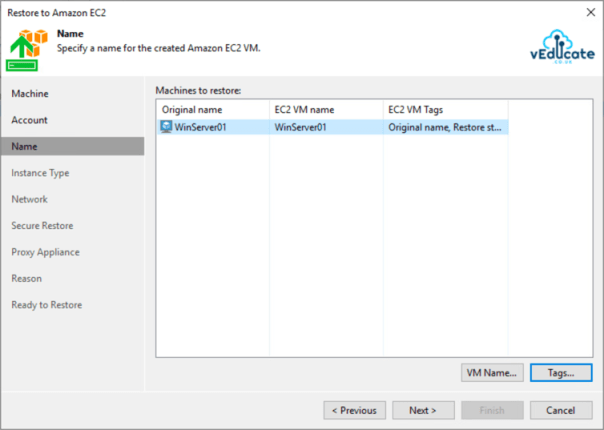 Veeam Backup for Azure Integration with Veeam Backup and Replication Restore to Amazon EC2 Specify Name and tags for VM