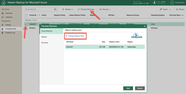 Veeam Backup for Azure Restore File Level Recovery Virtual Machine