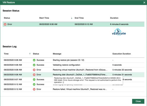 Veeam Backup for Azure Restore VM Restore Session Status