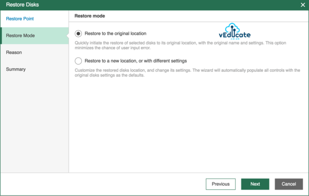 Veeam Backup for Azure Restore Virtual Machine Hard Disk Restore Mode