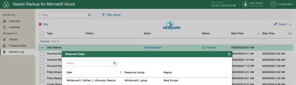 Veeam Backup for Azure Restore Virtual Machine Hard Disk Restored Disks