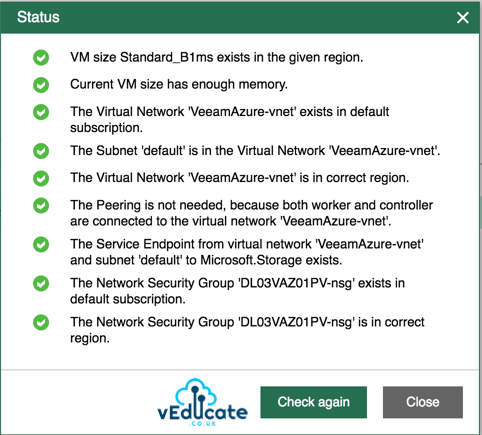 Veeam Backup for Azure Workers Configuration Status