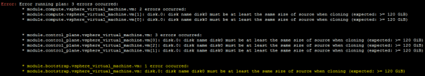 Deploy OpenShift VMware Static IP Terraform edit machine main.tf disk size disk size error