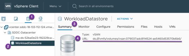 VMC get WorkloadDatastore VSAN URL