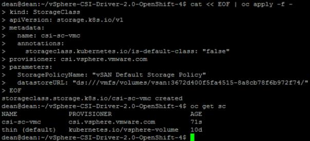 vSphere CSI with Openshift Create StorageClass