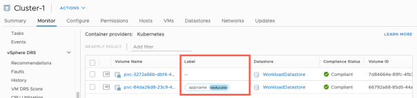 vSphere CSI with Openshift PVC Labels