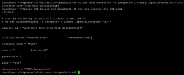vSphere CSI with Openshift configure vSphere Secret in OpenShift