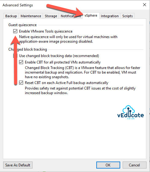 Veeam vRealize Automation Backup Create Backup Job Enable VMware Tools quiescence