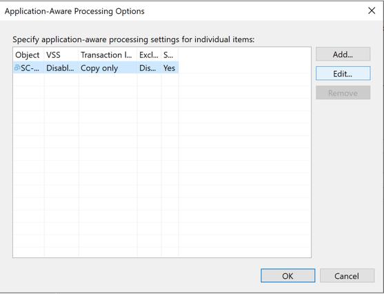 Veeam vRA Backup Offline backup job settings application aware processing options
