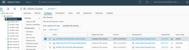 vSphere CSI Openshift VSAN Files Services File Shares