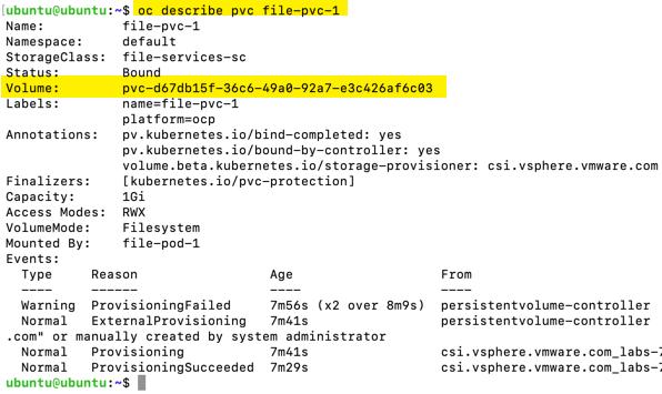 vSphere CSI Openshift VSAN Files Services describe pvc