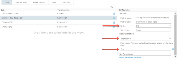 VM Growth List Create view Disk Used 3 Days ago Transformation expression first