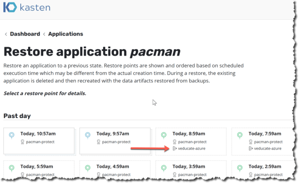 Kasten - Applications - Restore Application - select restore point