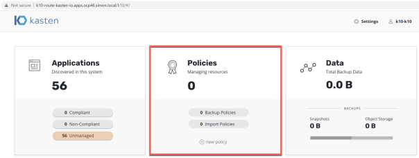 Kasten Dashboard create policy