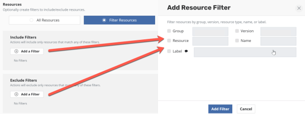 Kasten new policy Select Applications Resource Filters