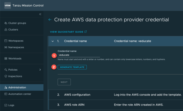 TMC Data Protection Create AWS Data protection credential Credential Name Generate template