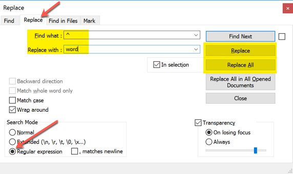 notepad find and replace add work to start end of each line