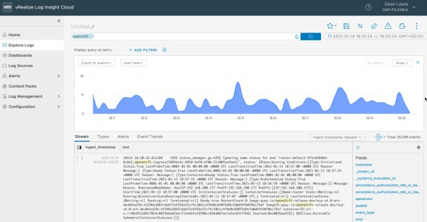 vRealize Log Insight Cloud OpenShift Logs
