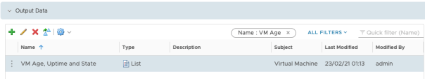 Create Dashboard Edit view VM Age Uptime and State Configuration Output Data