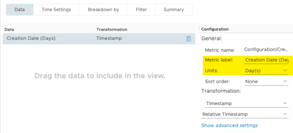 View VM Age Uptime and State metric Configuration Creation Date Days
