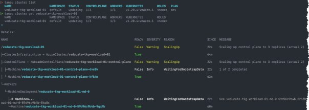 Deploy Tanzu Kubernetes Guest cluster to Azure - Tanzu cluster scale - tanzu cluster list - tanzu cluster get - output