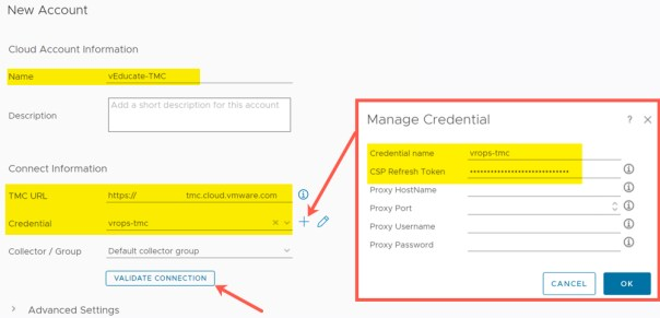 vROps TMC Integration - Add Account in vROPs - New Account