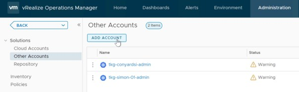 vROps TMC Integration - Add Account in vROPs