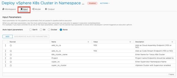 vRA Deploy Tanzu Guest Cluster - Code Stream - Pipeline - Deploy Tanzu Cluster - Configure Inputs