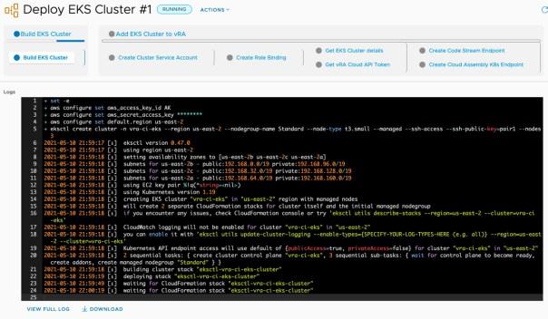 vRA EKS - Run Pipeline - View Execution - Build EKS Cluster output