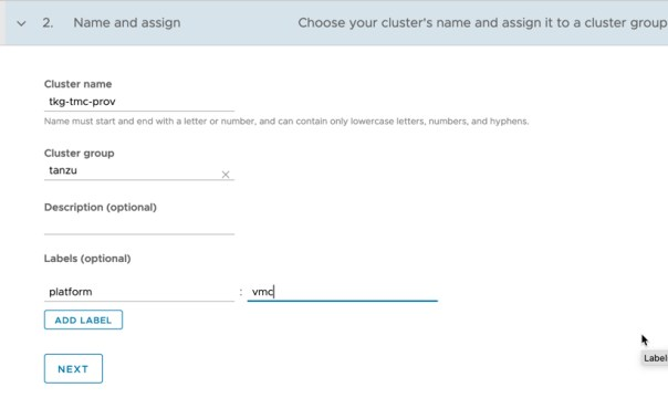 Tanzu Mission Control - Clusters - Create Cluster - Name and Assign