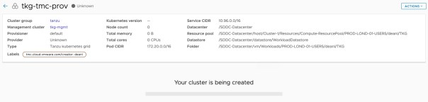 Tanzu Mission Control - Clusters - Create Cluster - your cluster is being created