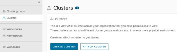 Tanzu Mission Control - Clusters - Create Cluster