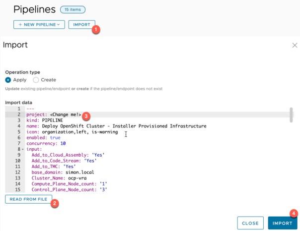 vRA Deploy Openshift - Code Stream - Import Pipeline