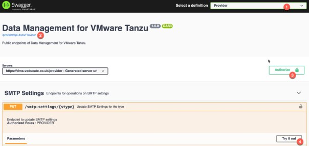 Data Management for Tanzu - API Postman Collection - Swagger UI