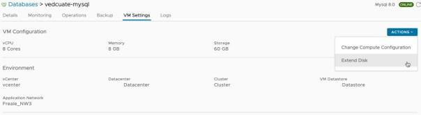 Data Management for Tanzu - Org User - VM Settings