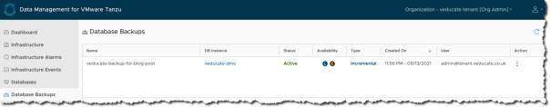 DMS - database backup