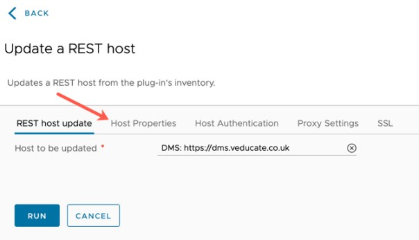 DMS - vRO Workflow - Update a Rest Host - Host to be updated - Host Properties