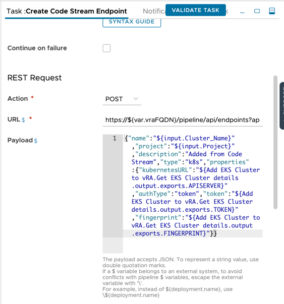 vRA 8.5 Code Stream - Unexpected character was expecting double-quote to start field name - Fixed Task