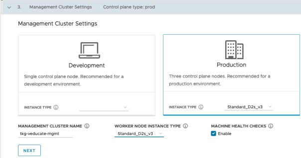 Deploy Management cluster to Azure - Management Cluster Settings