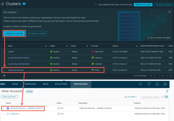 vROps TMC Integration - Provisioned cluster auto discovered