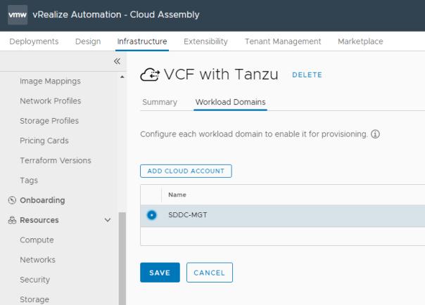 New Integration - SDDC Manager - Configure Cloud Account