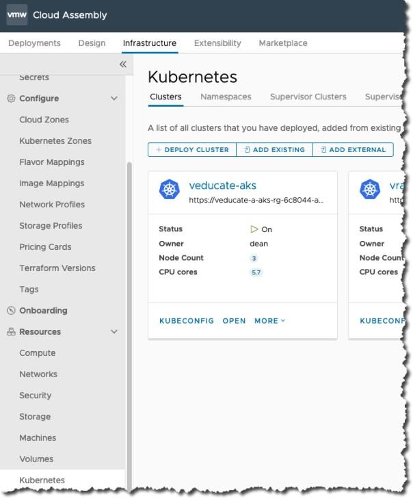 vRA AKS TMC - Cloud Assembly - Kubernetes Endpoint