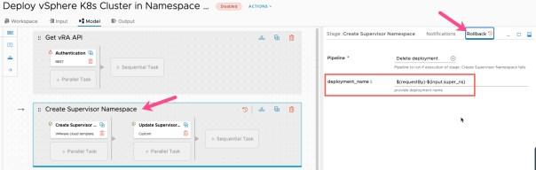 vRA Deploy Tanzu Guest Cluster - Code Stream - Pipeline - Deploy Tanzu Cluster - Create Supervisor Namespace - Rollback