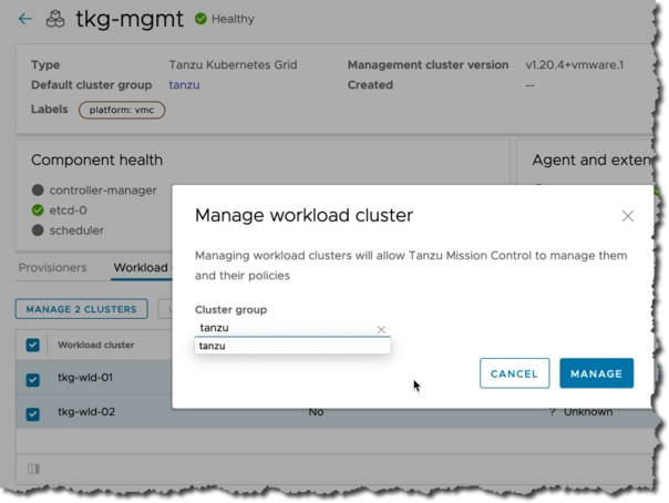 Tanzu Mission Control - Management Cluster - Register existing workload clusters - Select Cluster Group