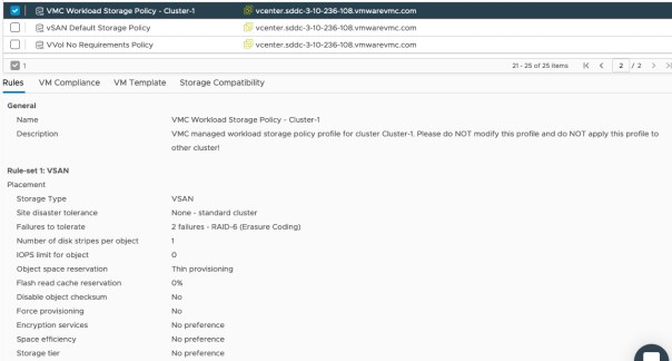 VSAN managed policy