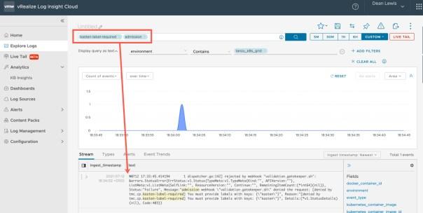 vRealize Log Insight - Tanzu - Gatekeeper audit log