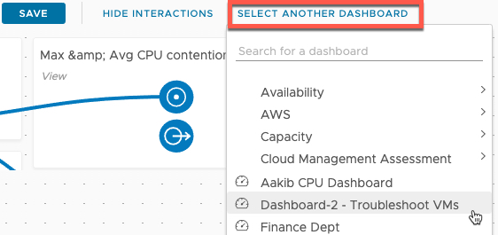vROPs - Dashboard Interaction - Show Interactions - Select another dashboard