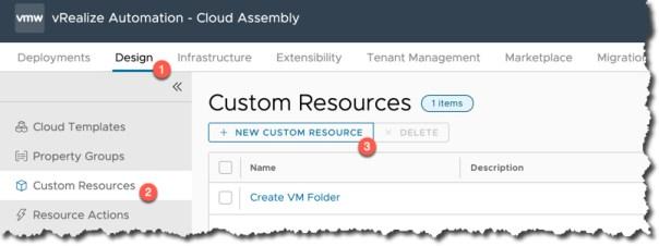 vRA - Cloud Assembly - Custom Resources - New Custom Resource