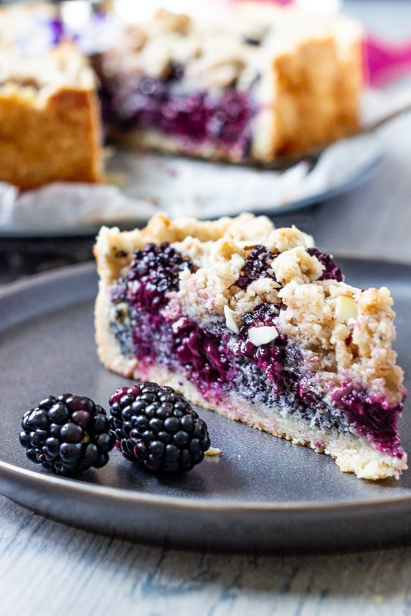 Vegan blackberry poppy crumb cake! Crumble fans (like me) will be happy, because this delicious cake with a poppy seed filling and juicy sweet blackberries is covered with cinnamon nut crumbles. A simple recipe that perfectly suits brunch, dessert and coffee and cake time. vegan | dairy-free  | oil-free | refined sugar free | soyfree
