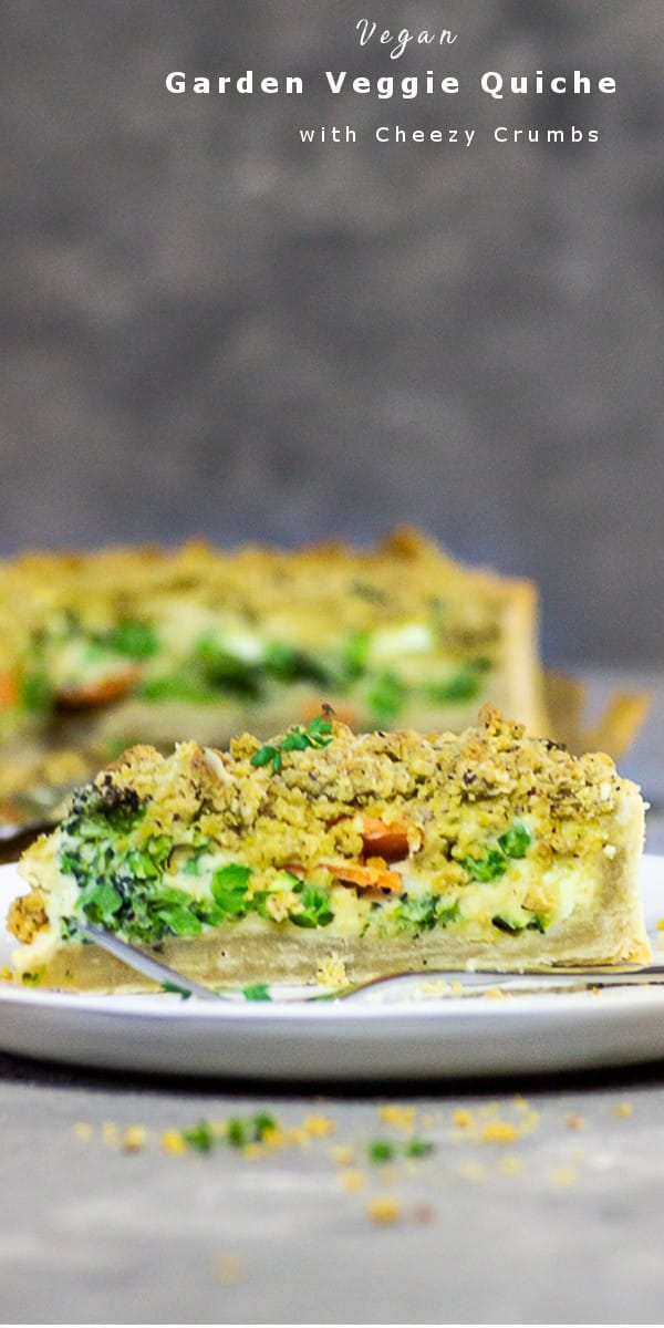 Vegan Garden Veggie Quiche with Cheesy Crumbs - make this oil-free quiche with a shortbread crust and a cashew cream filling with tofu and vegetables like broccoli, carrots, zucchini topped with delicious, cheesy nut crumble. This vegan quiche recipe is perfect for using veggie leftovers. vegan | oil-free | sugar free | milk-free | lactose free | plant-based | vegetarian